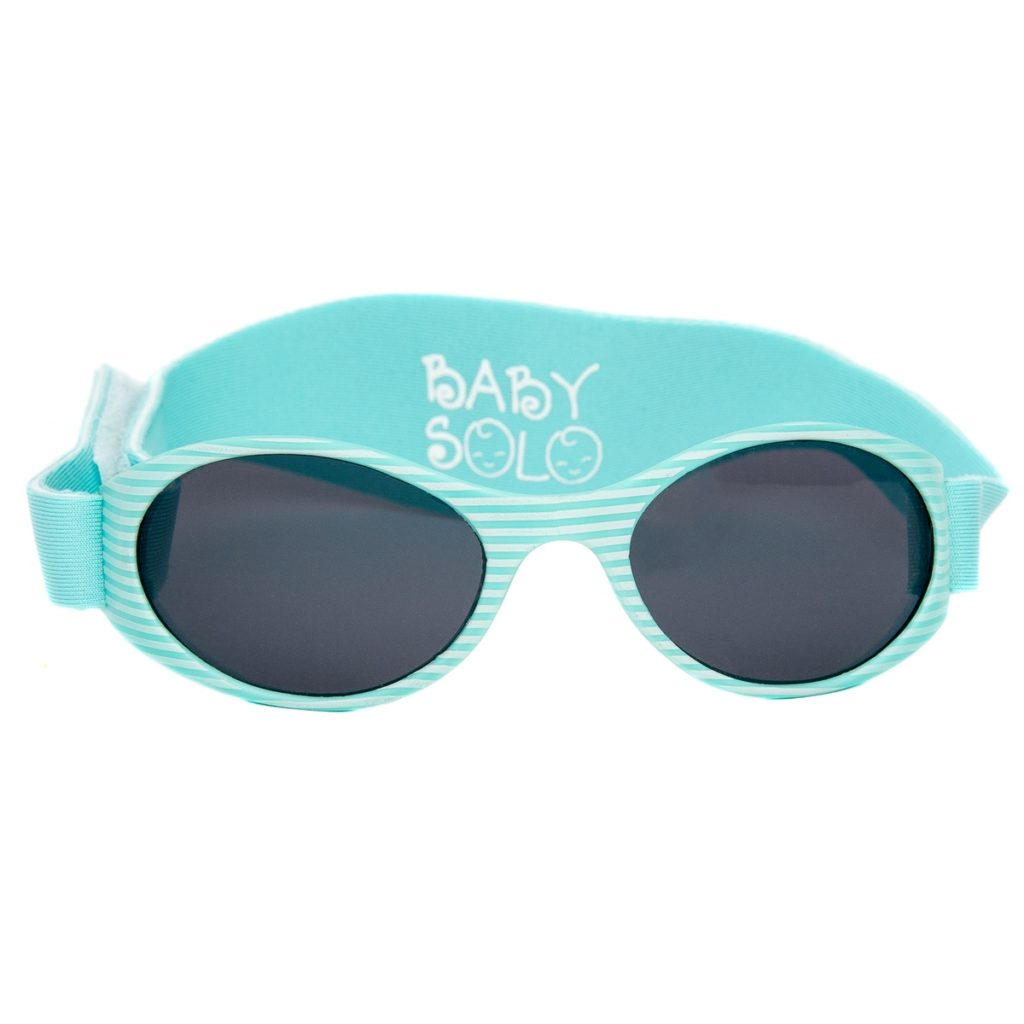 Baby Solo Sunglasses Matte Aqua Stripes Frame w/ Solid Black Lens